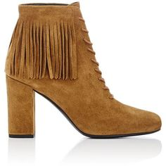 Saint Laurent Fringed Babies Ankle Boots (1 365 AUD) ❤ liked on Polyvore featuring shoes, boots, ankle booties, ankle boots, brown, short brown boots, brown booties, brown suede boots, fringe boots and lace up high heel booties