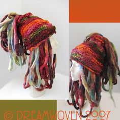 Wild Haired and Bushy Tailed - Funk Meets the Head - Hair Wrap Dread Wrap Dread Cuff mmmmmmmmm . Crochet Wool, Freeform Crochet, Crochet Beanie, Knitted Hats, Crochet Motif, Crochet Edgings, Crochet Tunic, Crochet Dresses, Yarn Color Combinations