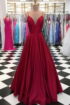 Burgundy satin spaghetti straps long V neck evening dress, simple party dress #prom #dress #promdress #promdresses