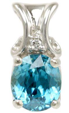 Elegant 1.85Ct Oval Blue Zircon Pendant with Diamond Accent