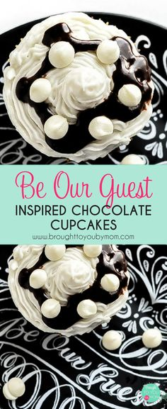 Be Our Guest inspired chocolate cupcakes recipe for the Disney inspired recipes book. Bring the Be Our Guest restaurant dessert favorite home with this easy cupcake recipe. #disney #recipes #beourguest #cupcakes via @brought2ubymom