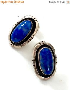 Sterling Silver and Lapis Earrings, NOS 1970s Native American, Shadow Box Bezel, Oval Blue Lapis Cabochons, Signed Leonard & Marian Nez