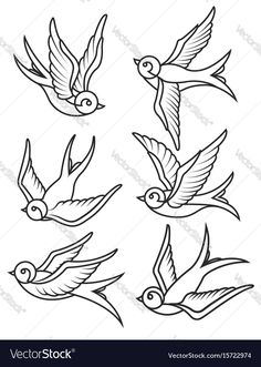 Set of swallow tattoo templates isolated on white Vector Image – Tattoo Tattoo Outline Drawing, Tattoo Design Drawings, Tattoo Sleeve Designs, Tattoo Sketches, Sleeve Tattoos, Swallow Tattoo Design, Swallow Bird Tattoos, Bird Tattoos Arm, Arm Tattoo