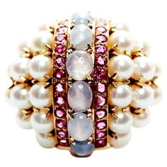 Check out this item at One Kings Lane! 1940s Pearl, Sapphire & Ruby Ring