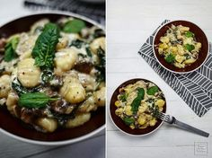 Gnocchi w serowym sosie, ze szpinakiem i pieczarkami – zapiekane | Karo in the Kitchen