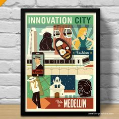 Medellin Innovation City Colombia Illustrated by ConsiderGraphics Innovative City, Colombian Art, Color Ink, Art Deco, Caribbean Art, Graphic Design Studios, Fan, Vintage Travel Posters, Love Design