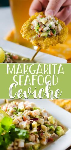"This cocktail-inspired Margarita Ceviche is a winner for any seafood lover! ♡ This cocktail-inspired Margarita Ceviche is a winner for any seafood lover! Fresh calamari, ahi tuna, scallops, and shrimp are ""cooked"" in lots of lim. Appetizers For A Crowd, Seafood Appetizers, Appetizers For Party, Appetizer Recipes, Dinner Recipes, Tapas Dishes, Seafood Dishes, Seafood Recipes, Mexican Food Recipes"