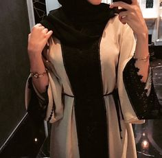 Beige and black lace. Pure class <3 #abaya omg this abaya is heaven #abayagoals #hijab