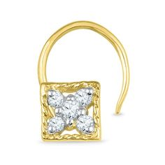 Jpearls 18kt Square Nose Pin | Gold and Diamond Nose Pins