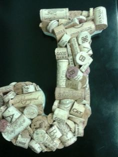 Wine cork idea.  I like the look of mixing whole corks with cut corks.