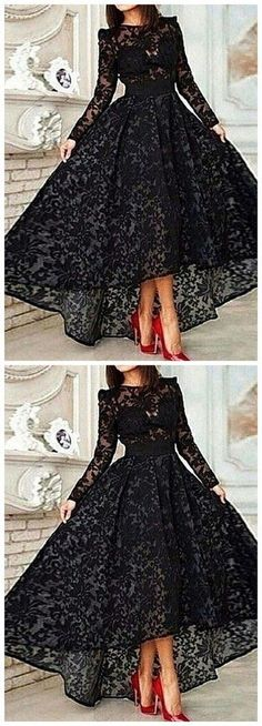 High Low Black Lace Evening Dress With Long Sleeveless Prom Gowns Cheap Prom Dresses For Teens Formal Casual