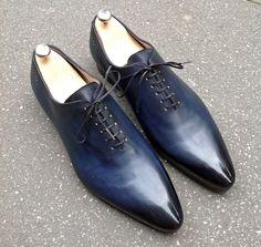 Caulaincourt shoes - One cut 1773 - prussian blue