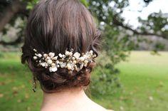 Vintage Wedding Hair Accessories, Hairband, Crystal, Pearls and bronze flowers bridal hair accessories, wedding accessory hair, $85.00