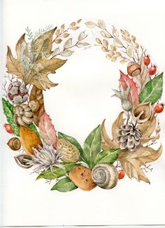 Wreath Watercolor, Watercolor Flowers, Watercolor Art, Autumn Illustration, Botanical Illustration, Flower Drawing Tutorials, Love Birds Painting, Flower Phone Wallpaper, Leaf Art
