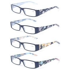 f95d221f699 Kerecsen 4 Pack Fashion Women Reading Glasses Spring Hinge With Flower  Print Readers Review Oakley Sunglasses