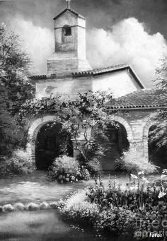 San Juan Capistrano Mission Cloudy Day Canvas Print / Canvas Art by Gail…