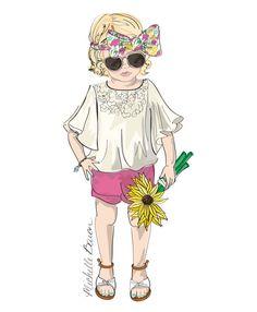 Children's Fashion Illustration Print featuring a little boho girl