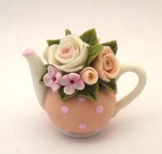 1/12TH scale  romantic chic floral pink peach  teapot  BY by 64tnt