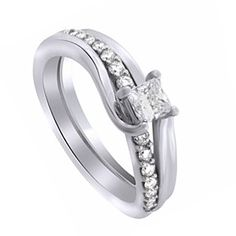 0.63 Ct Square Princess Cut D/VVS1 Bridal Set Wedding Set Ring Sterling Silver by JewelryHub on Opensky