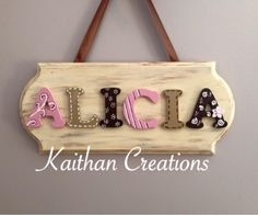 Personalized Name plaque by Kaithan Creations.  Can be customized to your name and colors.  Sizes and cost vary depending on name.  Visit my Facebook page for more options.  www,facebook.com/kaithancreations Door Plaques, Name Plaques, Wooden Plaques, Wooden Doors, Hostess Gifts, Custom Homes, Facebook, Colors, Wood Plaques