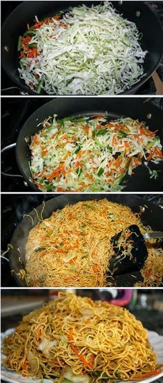Vegetarian Chow Mein from Simplex Food. Made with Napa cabbage, carrots, green onions, chow mein noodles, chicken broth, soy sauce, sesame oil, lo mein sauce, bean sprouts and baby bok choy (optional). LISED.