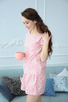 58cf0c1e6953c Pink Pajama, Women's Sleep Set, Homewear, Cotton Pajamas, Cotton Pajamas  for Women
