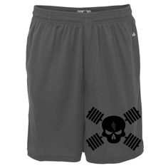 Killer Weight Lifting Skull Barbells Polyester Gym Shorts | Ironville Clothing