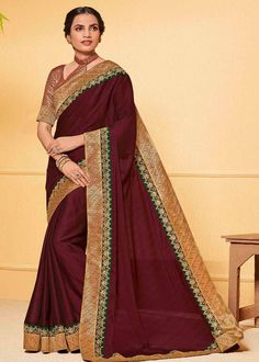 Coffee Brown Color Chiffon Party Wear Saree Product Details : Saree color is brown. Fabric of this designer saree is chiffon. Comes along with raw silk unstitched blouse. Saree has lace border. Ideal for wedding function, party function, festivals Tussar Silk Saree, Art Silk Sarees, Chiffon Saree, Embroidered Clothes, Embroidered Silk, Coffee Brown Color, Plain Saree, Designer Sarees Online, Latest Sarees