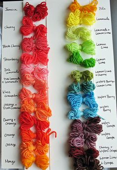 Ashley Akers: My Kool-Aid Dyeing Workshop  -Pinning for color reference for colors.  This also works for dyeing feathers.