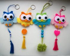chaveiro coruja feltro felt owl key ring  Schlüsselanhänger Eule