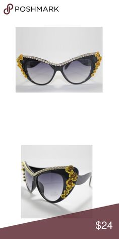 Flower and rhinestone sunglasses Chic embellished cat eye frames Accessories Glasses