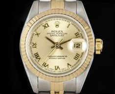 Rolex Datejust Ladies Stainless Steel & Yellow Gold Champagne Roman Dial B&P 69173 Gold Champagne, Rolex Datejust, Rolex Watches, Roman, Stainless Steel, Yellow, Gold