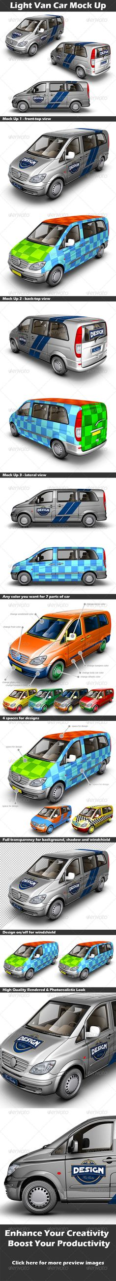 Light Van Car Mock Up — Photoshop PSD #midibuses #MUV • Available here → https://graphicriver.net/item/light-van-car-mock-up/3916351?ref=pxcr