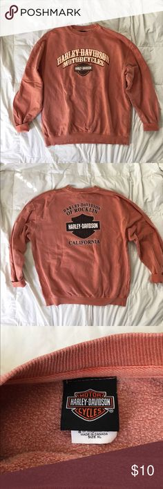 Harley Davidson sweatshirt Men's Size extra large. I wore this over sized. There is small marks all over it, as shown. I can take more but non of them look bad they just add character. Obviously the price reflects but I like my stuff to have that vintage look and this has it  no holes or weird smells Harley-Davidson Sweaters Crewneck