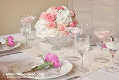 Roses and white hydrangea