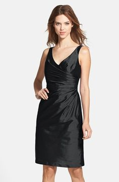 Alfred Sung Satin Side Pleat Satin Sheath Dress available at #Nordstrom