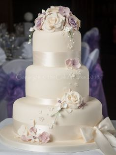 Lilac and Ivory Roses Wedding Cake