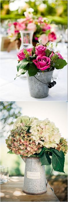 Rustic tin can wedding centerpieces / http://www.deerpearlflowers.com/wedding-centerpiece-ideas/