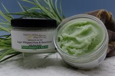 Rosemary Mint Sugar Whipped Foot and Hand Scrub, 4.25oz, $5.95.  A whipped mixture of sugar with nutrient rich soybean and olive oil, and natural shea and kokum butters that moisturize your skin leaving your hands and feet silky-soft and smooth.     When applied to wet skin, this product emulsifies into a creamy foot and hand scrub that gently and effectively exfoliates to remove dry or dead surface skin cells, leaving the skin hydrated without feeling oily.