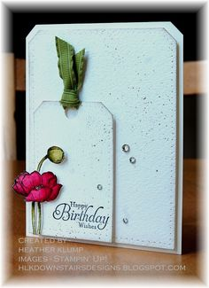 Stamps - Simply Sketched Paper - Watercolor, Very Vanilla Ink - stazon, Strawberry Slush, Old Olive, crumb Cake Accessories - 3/8 circle punch, lucky limeade ribbon, rhinestones, paper piercing tool, Aquapainter, dazzling diamonds, two way glue, dimensional dots