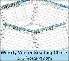 Winter is fully here and it is time for some fun winter reading charts. These are to be added to our Fall and Summer weekly charts. Reading is a huge part of our kids education. Hands On Learning, Kids Learning, Weekly Reading Logs, Reading Charts, Reading Themes, Polar Bears, Chapter Books, Winter Theme, Fourth Grade