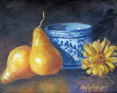 Small 8x10 Original Oil Painting Golden Pears by ChatterBoxArt, $80.00