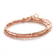 Rose gold triple wrap bracelet by BijouxBar by Vivien Frank