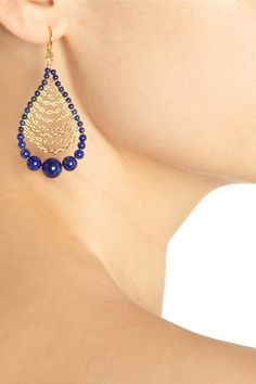 Chan Luu   Gold-plated lapis lazuli drop #earrings