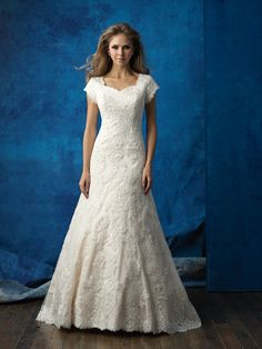 Allure Modest M566 Cap Sleeve Lace A-Line Wedding Dress – Off White