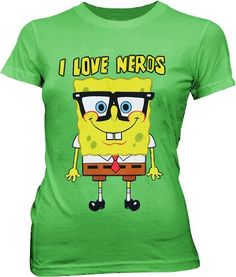 Green Spongebob | Spongebob Squarepants I Love Nerds Green Juniors T-shirt Tee