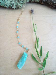 boho necklace, chrysoprace necklace, beaded necklace, chain necklace, simple necklace, gemstone necklace, stone necklace by kathywelshart on Etsy
