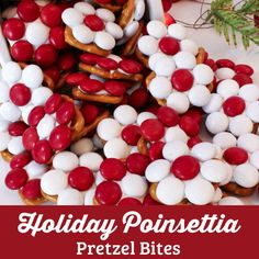 Holiday Poinsettia Pretzel Bites are a great Christmas Treat - sweet, salty, crunchy and delicious. Add this fun dessert to your holiday baking list.