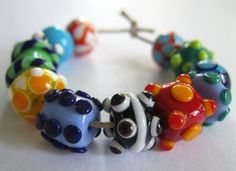 Fun and Funky Bright Lampwork Beads SRA.  Lampwork beads by Beth Singleton