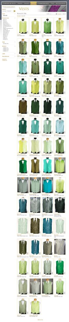 tuxedo vests in every color to match your bridesmaid dress - not just green!